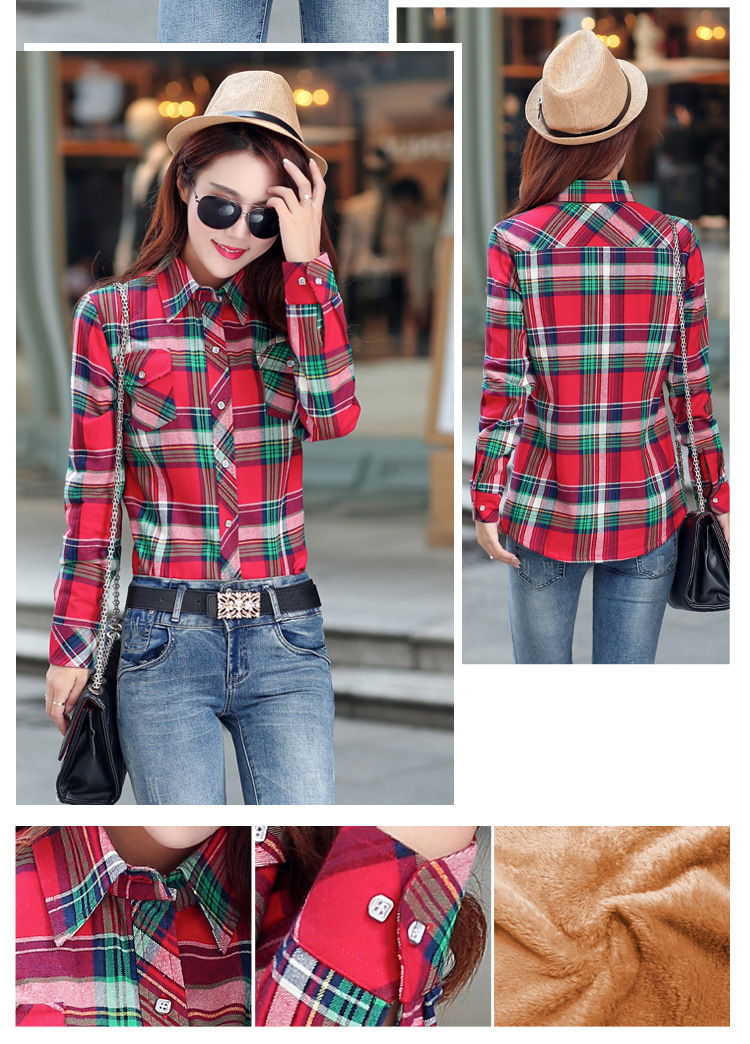 19 Brand New Winter Warm Women Velvet Thicker Jacket Plaid Shirt Style Coat Female College Style Casual Jacket Outerwear 27