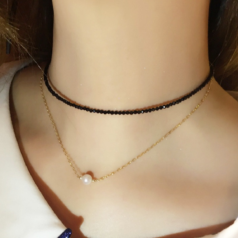91b723db0b70cd Korean fashion trend neck jewelry simple personality short black crystal  beads beaded chain necklace -in Choker Necklaces from Jewelry & Accessories  on ...