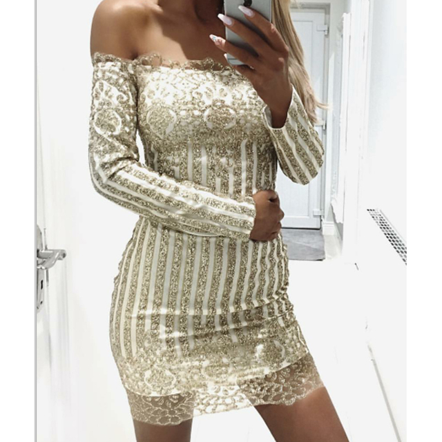 63258ceac54e Sexy Gold Glitter Party Dress Embellished Off Shoulder Above Knee ...