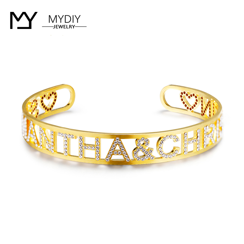 925 Silver Gold Name Bangles Personalized Bangle ID Family Lover Nameplate Faith Letter Bangles & Bracelet Adjusted Bracelet