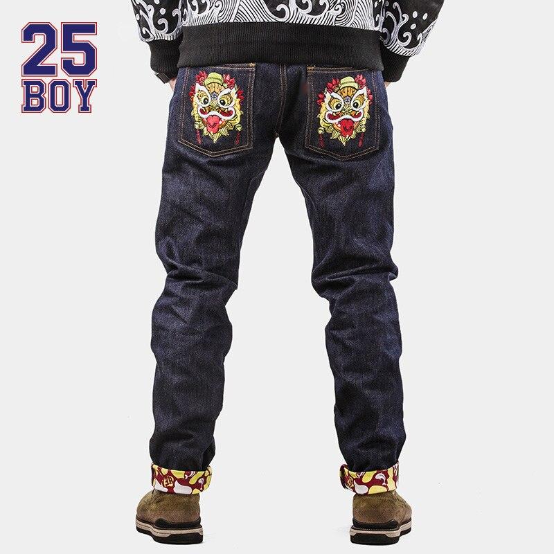 8d854df0dc9 Original Casual Jeans Men Lion Logo Printing Straight Pants Outsize Autumm  Summer Wear jeans de marca