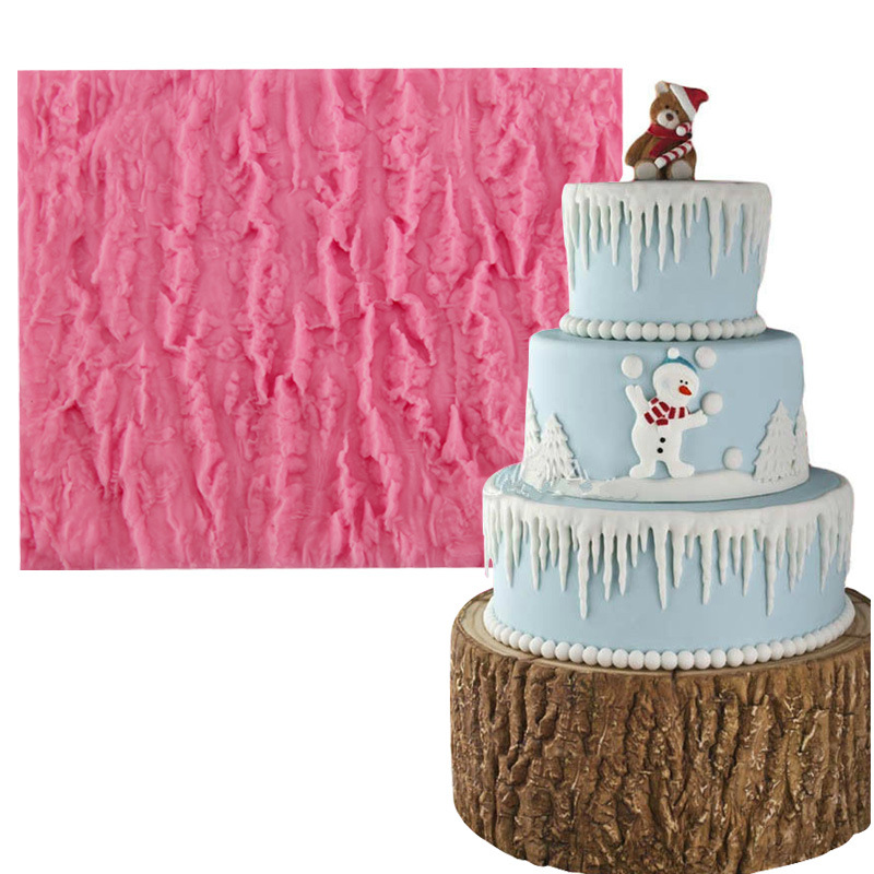 Christmas Cake Decoration Molds : Tree Bark Texture Icicle Silicone Lace Molds Fondant Cake ...