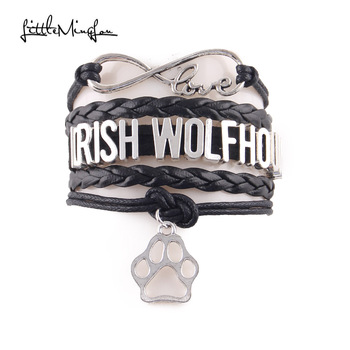 Little MingLou Infinity love Irish wolfhound dog Bracelet pet paw Charm leather wrap men bracelets & bangles for Women jewelry image