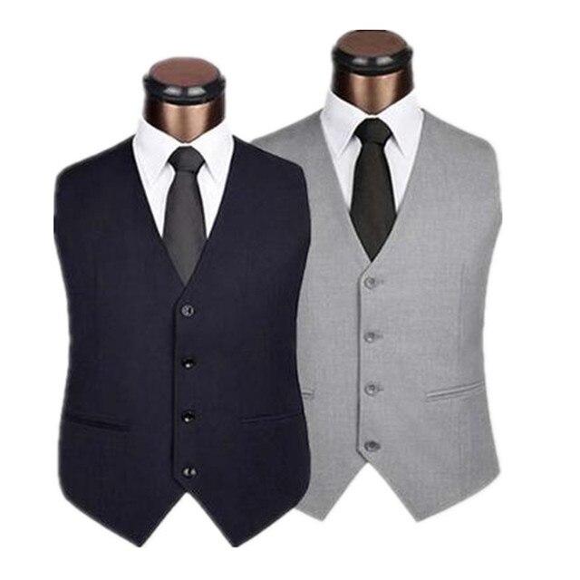 Hommes Gentleman Costume Gilet Mince Mode 4 Bouton D affaires Décontractée  Printemps Automne Plus La c01c9f3c6e6