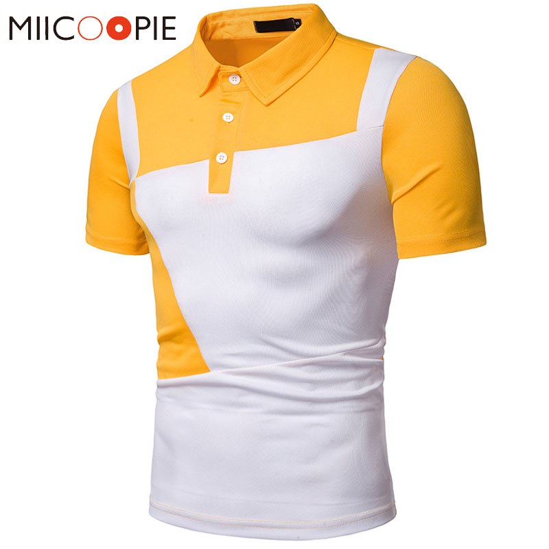 2019 Summer Yellow Mens   Polo   Shirt Fashion Personality Casual   Polo   Shirts Slim Short Sleeve Patchwork Men Camisa   Polo   Homme XXL