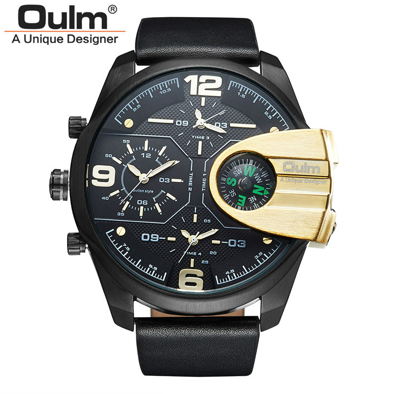 Top Brand Luxury relogio masculino Business Genuine Leather Waterproof Dual Display Military Compass Men Quartz Sport Oulm Watch 2017 luxury men s oulm watch sport relojes japan double movement square dial compass function military cool stylish wristwatches