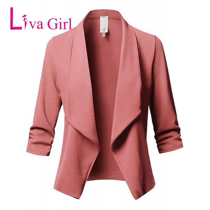 45611c0b13d52 Detail Feedback Questions about LIVA GIRL Office Plus Size Draped Blazers  For Women Spring Autumn Long Sleeve Open Front Ladies Work Coats Large  Jacket 4XL ...