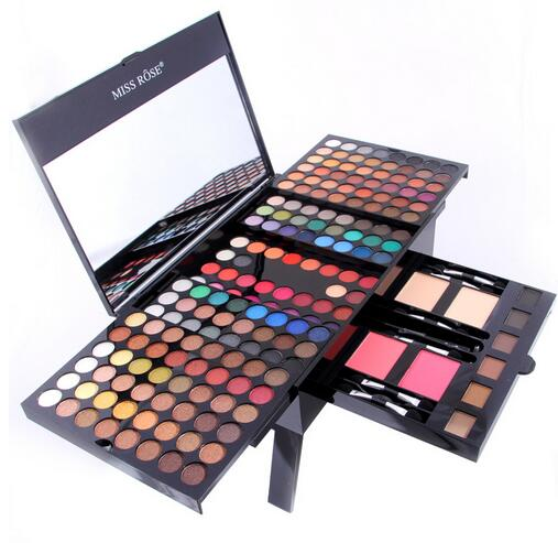 Miss Rose Cosmetic 180 colors Makeup Palette Eyeshadow Eyebrow Blusher Podwers Pro Make up Set matte nude shimmer eye shadow miss rose makeup palette 48color matte eyeshadow earth nude eye shadow 2 colors pressed powder 4 color blusher cosmetic palette