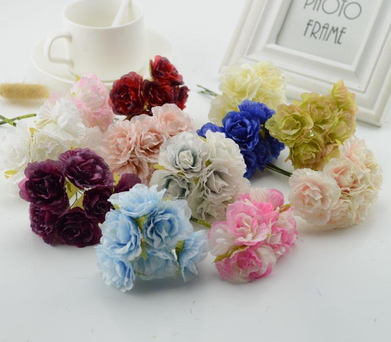 6pcs silk Fake flower Roses cheap Artificial Flowers scrapbooking For Home wedding car decoration handicraft DIY Box head wreath