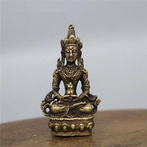 ( Mini ) Exquisite Chinese Brass Carved Longevity Buddha Small Statue