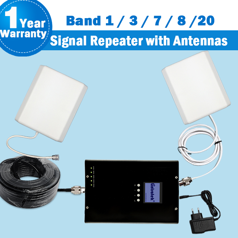 2G 3G 4G Multifold Band Lintratek GSM 800/880/1800/2100/2600 Booster 5 Band Europe Mobile Phone Antenna 3G Signal Booster Kit 42