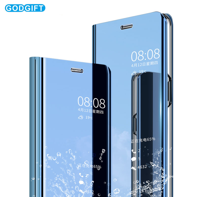 super popular f3d6e a6390 Clear View Stand Case For Huawei P Smart 2019 Case Mirror Flip Cover For  Huawei P Smart 2019 Phone Case
