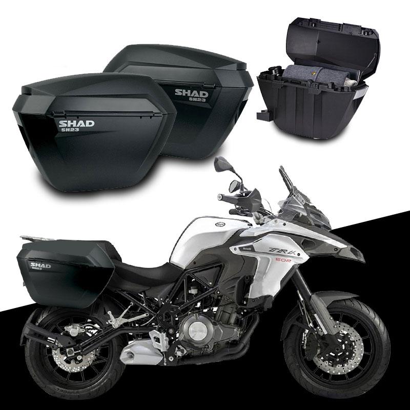 for Benelli TRK502 TRK 502 X SHAD SH23 Side Boxs+Rack Set Motorcycle Luggage Case Saddle Bags Brasket