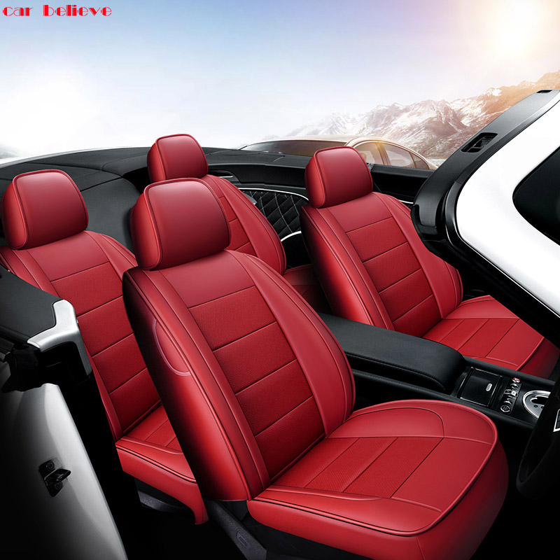 Car Believe Auto automobiles Cowhide seat cover For Jaguar Porsche Cayenne 958 2017-2010 car accessories car styling car believe auto car foot floor mat for porsche cayenne 958 2017 2010 panamera cayman 955 957 958 waterproof car accessories