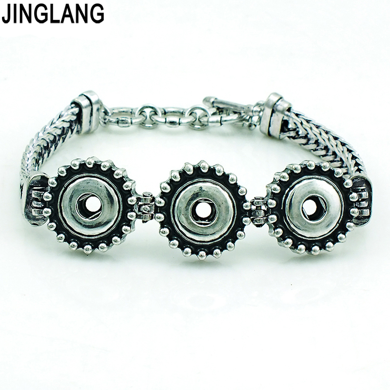 JINGLANG Brand New Fashion Interchange 12mm Three Snap Button Infinity Link Bracelets Jewelry Free Shipping image