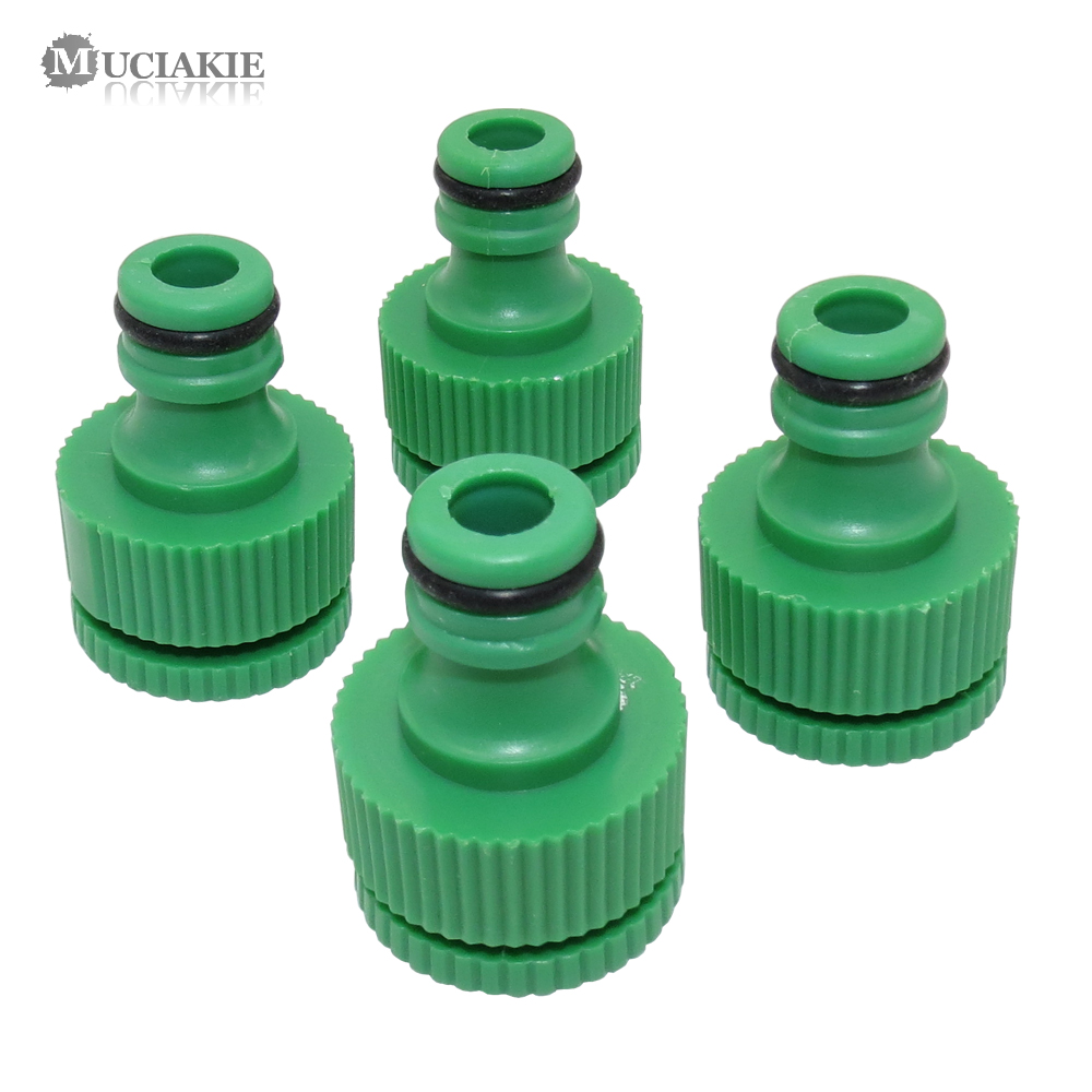 5PCS Green New ABS Plastic 1/2'' 3/4'' Nipple Tap Connector 20 25mm Female Thread Faucet Joint Adapter Garden Irrigation Fitting