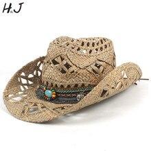 Натуральная соломенная ковбойская шляпа для женщин и мужчин Плетение ручной работы ковбойские шляпы для леди и папы летние западные сомбреро Hombre спасательные шляпы