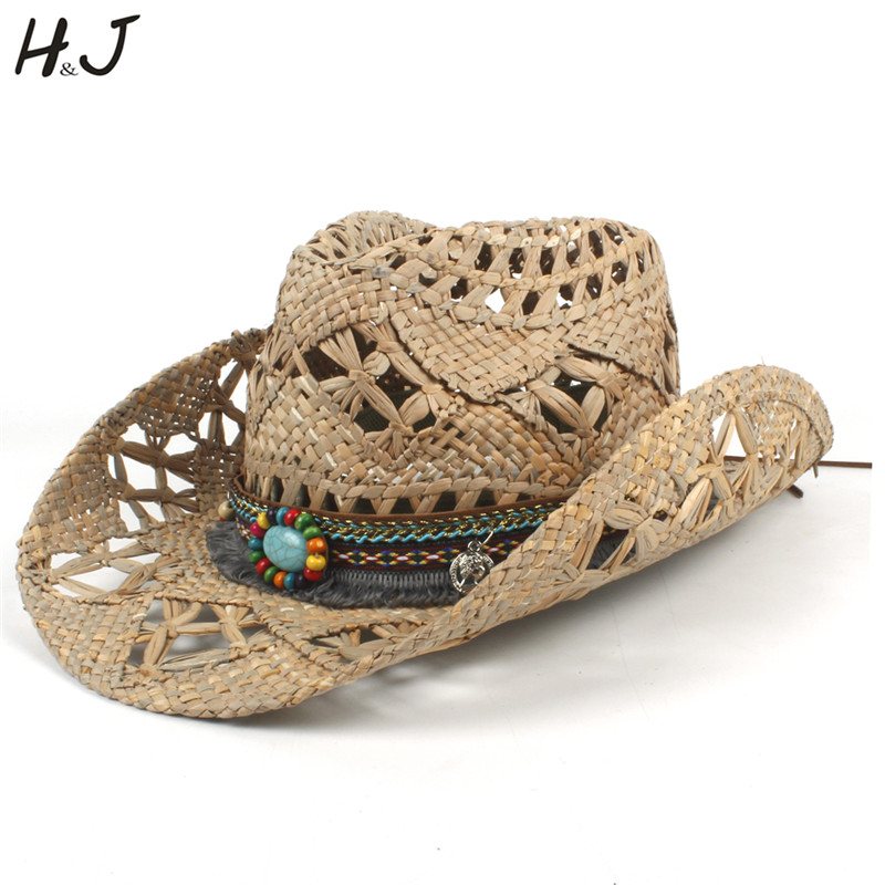 100% Natural Straw Cowboy Hat Women Men HandWork Weave Cowboy Hats For Lady Dad Summer Western Sombrero Hombre Lifeguard Hats