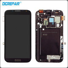 Gris Pour Samsung Galaxy Note II 2 N7105 I317 LCD Affichage Écran Tactile Digitizer avec Lunette Cadre + Menu Bouton l'assemblée
