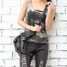 Black Leather Steampunk  Leg Bag  Waist Packs