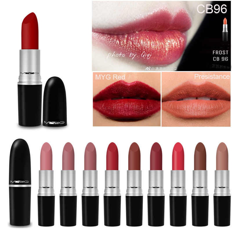 Rich สีครีมลิปสติก Matte Lip Stick Shimmer Golden Bronze Moisture Full Retro สี Vitamin E Lip Care Stick