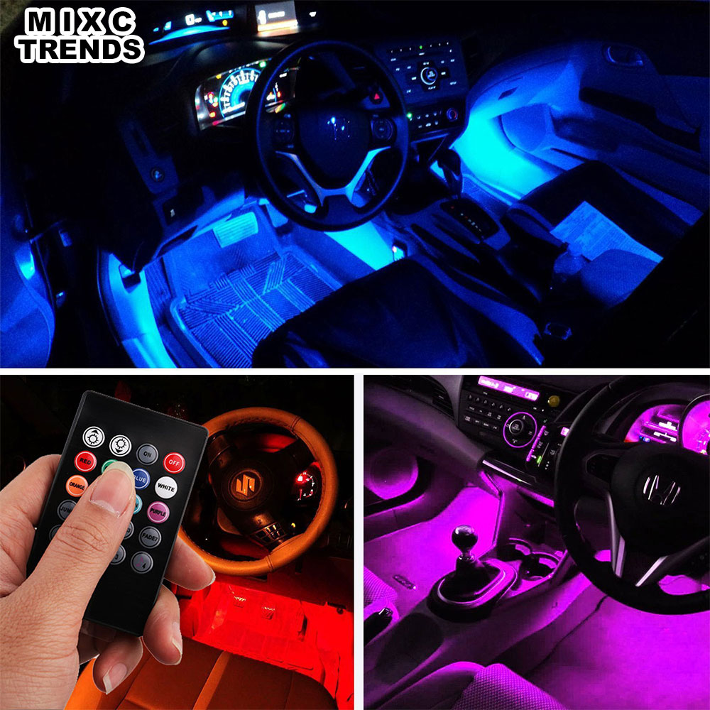 MIXCTRENDS 4pcs Flexible RGB LED Strip Light Car Styling Decorative Atmosphere Lamps Car Interior Light with Music Voice Remote