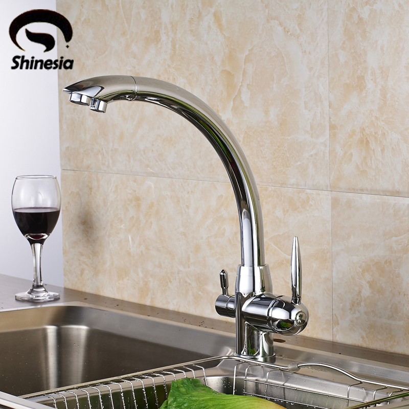 Solid Brass Chrome Polished Purification Kitchen Sink Faucet Double Handles Pure Water Mixer Tap Drinking Tap