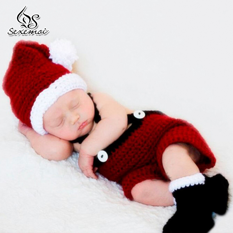 Christmas Style Baby Costume Prop Newborn Photography Props Holiday Clothes Baby Girl Cute Photo Props Crochet Knit Outfits cute newborn baby photography props outfits knit crochet hat tie pants costume set bebes roupa infantil bebek d