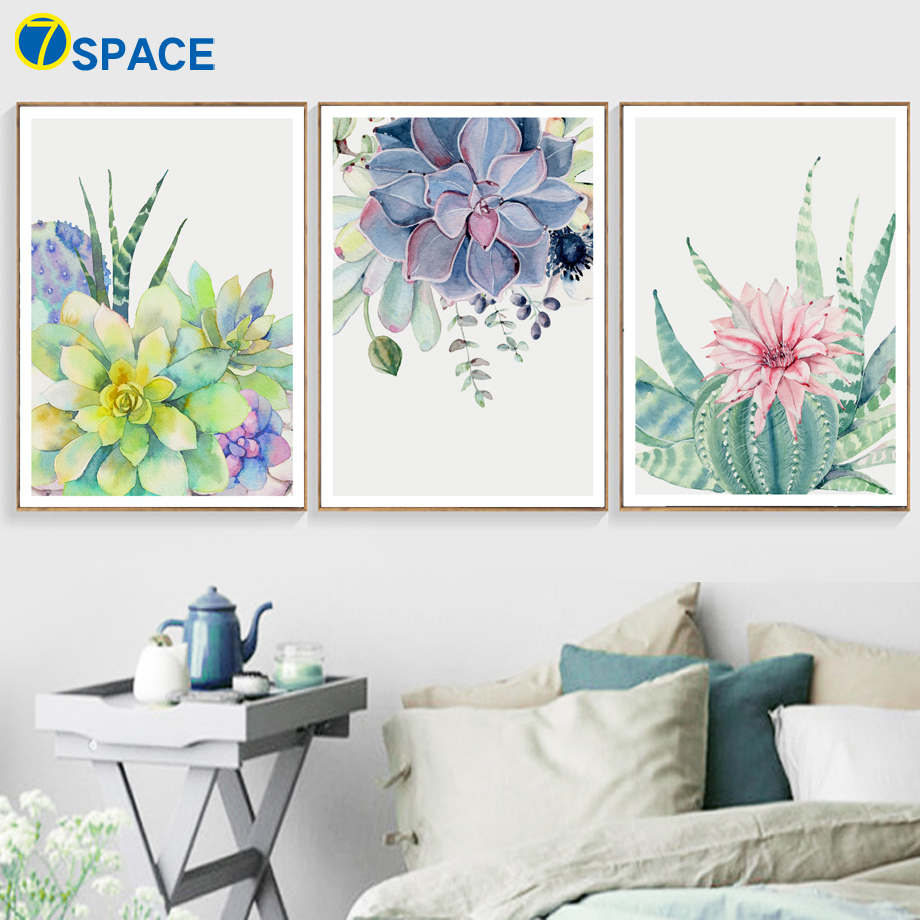 Watercolor Flower Cactus Wall Art Canvas Painting Nordic ...