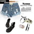 2015 New Arrive Womens High Waisted Studded Denim Jeans Short Cutoff Shorts for Women Female Feminino Real Sort Size 32-42 SL019