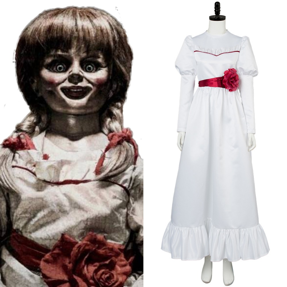 Trucco Annabelle Halloween.Us 55 25 15 Off Movie Annabelle Cosplay Costum White Dress Outfit For Women Girls Halloween Canrival Costumes Cosplay In Anime Costumes From Novelty