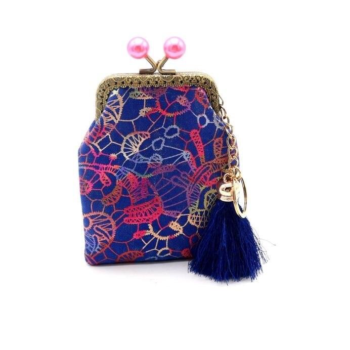Women Lady Retro Vintage Hasp Coin Purse Flowar Printed Tassel Canvas Small Wallet Woman Change Money Purse Clutch Bag