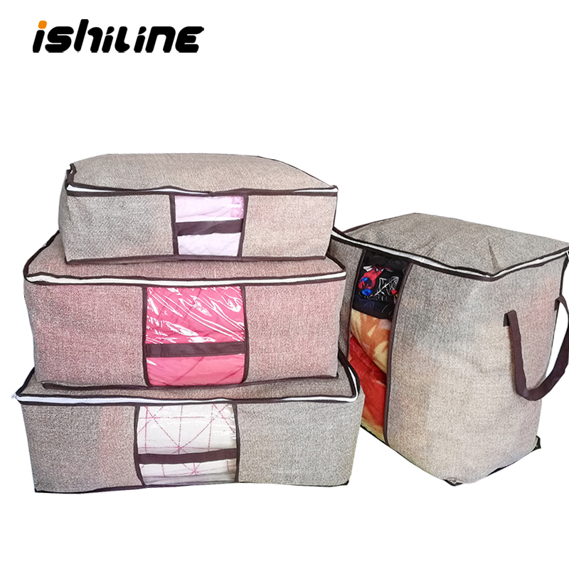 2019 New Non-woven Clothes Storage Bag Wardrobe Closet Organizer Folding Garment Quilt Storage Bag For Bedding Blanket Pillow