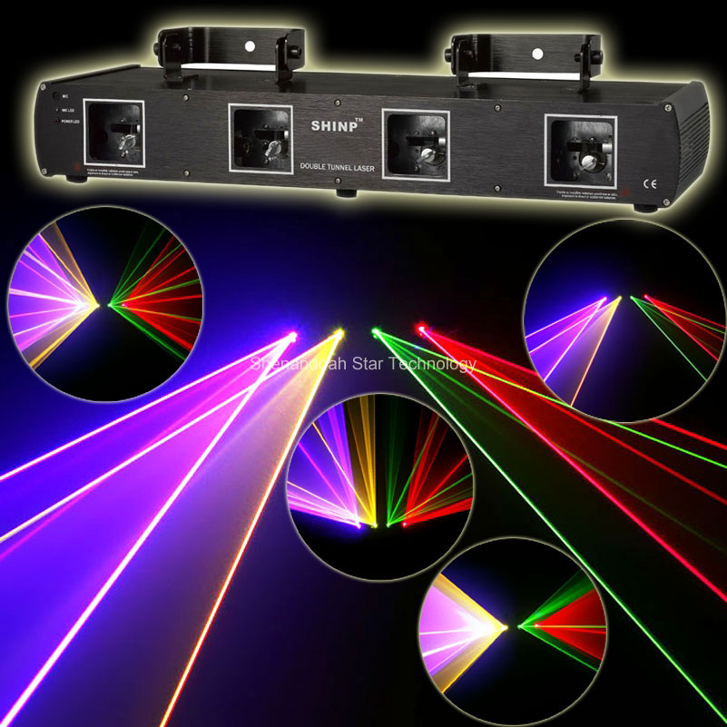 New 4lens 1.2W RGBY Beam Laser Scanner DMX DMX512 Dance Bar Xmas Party Disco DJ Lighting Stage Effect Light Show System X10 rg mini 3 lens 24 patterns led laser projector stage lighting effect 3w blue for dj disco party club laser