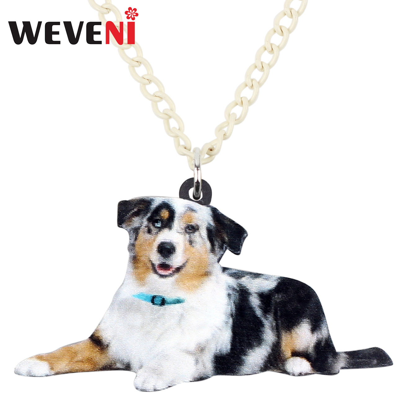 WEVENI Statement Acrylic Australian Shepherd Dog Necklace Pendant Sweater Collar Cute Animal Pet Jewelry For Women Girls Gift