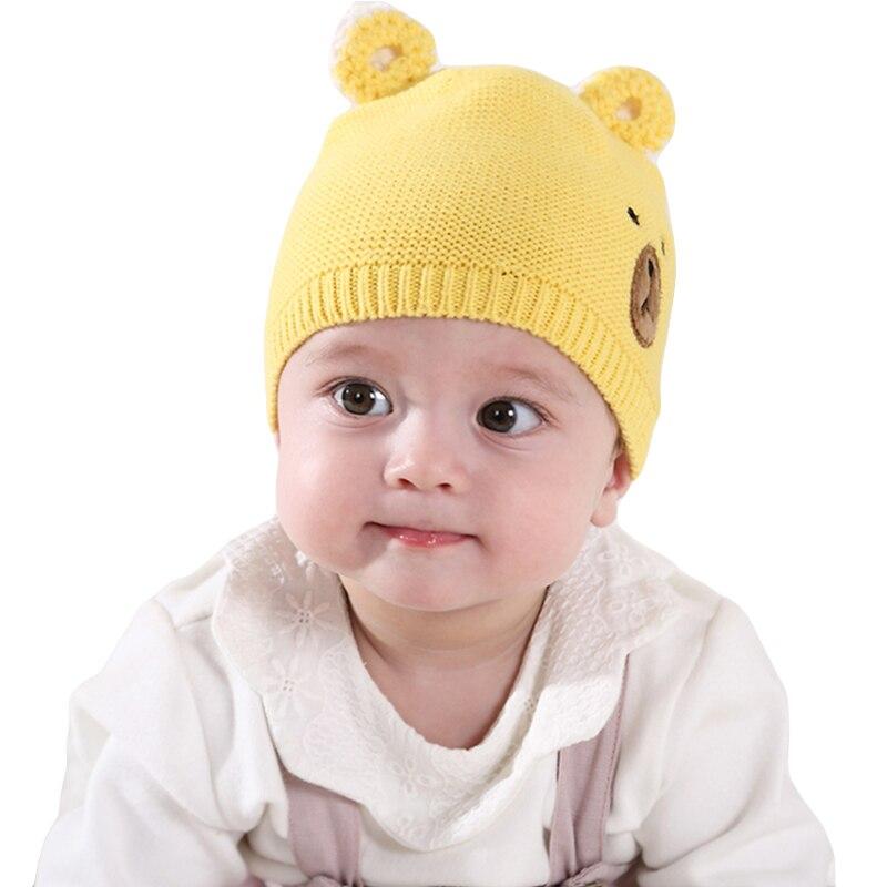 ca4f1731e 3-15months bebé sombrero 2017 Otoño Invierno Beanie CAPS infantiles del niño  del bebé Niñas Niños punto sombreros niños dibujos animados orejas sombreros