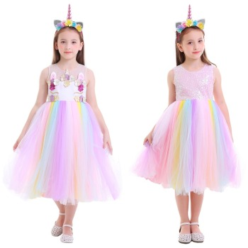 Set Unicorn Girl Flower Rainbow Dress