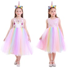 Rainbow Dress Flower Unicorn Fancy Dress Up Kids Girls Clothes for Birthday Party Halloween Costume Fashion Photography Costume fashion green and pink rainbow flower fairy costume for girls birthday cupcake layered dresses