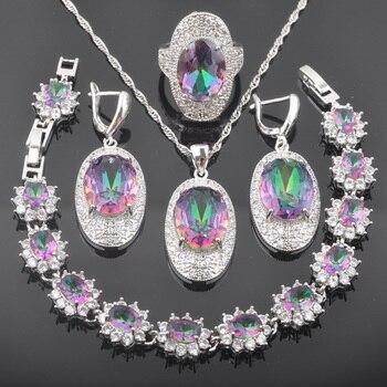 Nuevo inusual Multicolor circonita con Color de arco iris de Color de plata para las mujeres joyería de moda establece QS0586