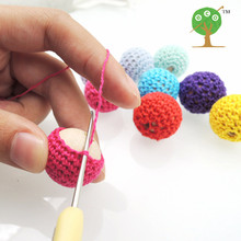 100 X Chunky wooden crochet beads 56 colors teething nursing silk cotton knitted bead diy wooden