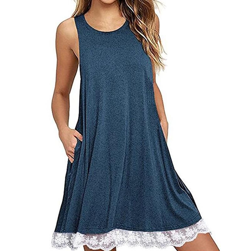 Women O-Neck Casual Lace Sleeveless Dress Party A-Line Loose Mini Dress