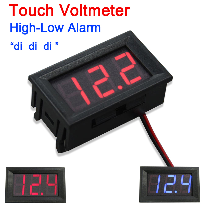 DYKB DC 8-150V Touch Voltmeter High-Low Voltage Alarm W Buzzer Digital Led Monitor 12v 24v 36v 48v 60v 72v 96v Battery Car Meter