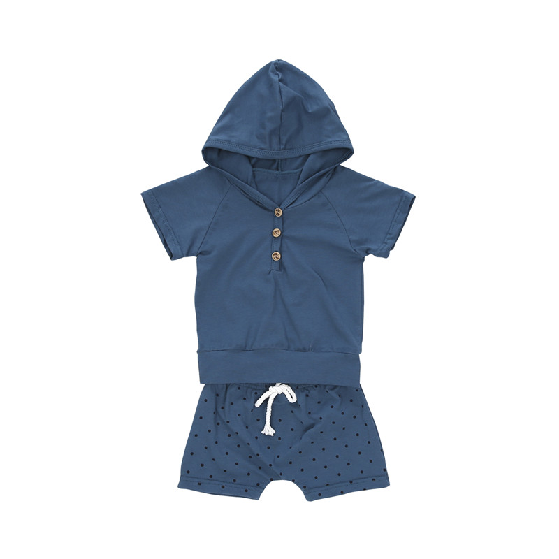 Baby Cotton Summer Clothes For Boys New 2018 Newborn Baby Boys Short Sleeve Hooded T-shirt Tops+Black Dot Shorts Pants Outfits