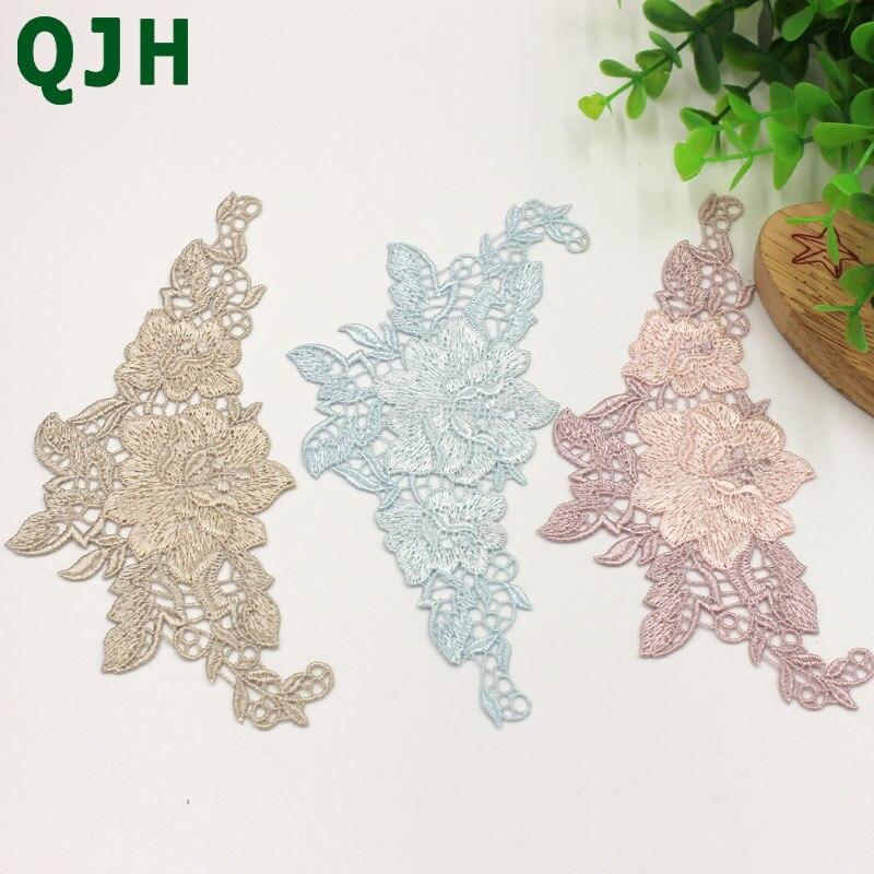 QJH 1pair Beautiful Lace Applique Headwear Flower Lady Motif Venise Embroidery Lace Trim Wedding Dress Garment