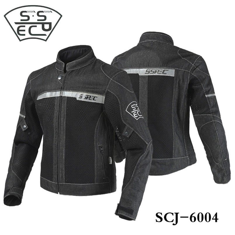 SSPEC Demin Men Motorcycle Jacket Motorbike Riding Jacket Motorcycle Full Body Protective Gear Armor Autumn Winter Moto Clothing herobiker armor removable neck protection guards riding skating motorcycle racing protective gear full body armor protectors