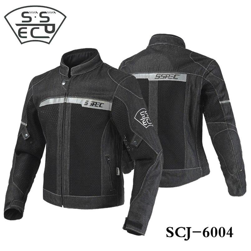 SSPEC Demin Men Motorcycle Jacket Motorbike Riding Jacket Motorcycle Full Body Protective Gear Armor Autumn Winter Moto Clothing