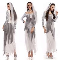 Scary Terror Ghost Bride Costume Halloween Adult Cosplay Dress Fancy Dress SM1810