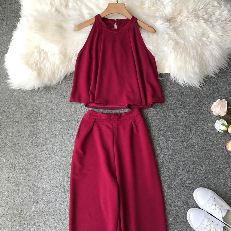 HTB1lI.uVwHqK1RjSZFgq6y7JXXa7 - two piece set women fashion sexy short top and long pants casual sleeveless Elastic high waist female summer festival clothing