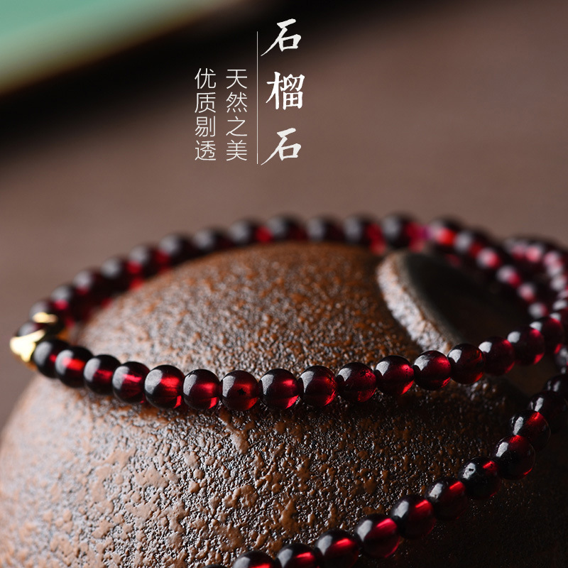 Image 4 - Fashion Handmade natural garnet bracelet women,Luxury vintage elastic bracelet, Ethnic red stone ethnic bracelet-in Strand Bracelets from Jewelry & Accessories