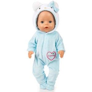 Image 5 - Pak + Schoenen Poppen Outfit Voor 17 Inch 43Cm Zapf Geboren Baby Pop Leuke Jumpers Rompertjes Pop Kleding